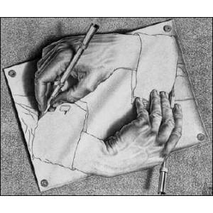 Stéréoscope : ESCHER - DRAWING HANDS (1948)