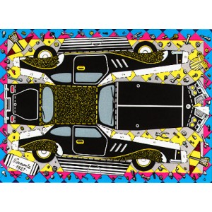 Postcard : THE CUTTING CAR (La voiture à découper)