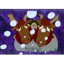 Cellulo : Le Père Noël et les enfants du désert - (Gros plan face sur les rennes conduits par le Père Noël en pleine tempête de