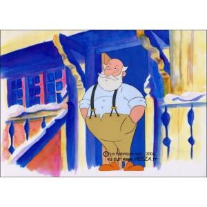 Cellulo : Le Père Noël et les enfants du désert - (Le Père Noël sur le pas de sa porte attend que la neige tombe)