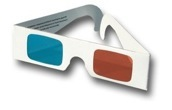 a pair of anaglyphic glasses