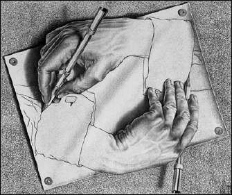 Drawing Hands (1948) by ESCHER