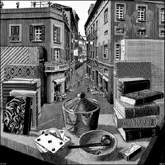 Still-Life and Street (1937) by ESCHER