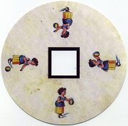 Une petite fille jouant avec une balle : toupie FANTOCHES's disc by Emile REYNAUD