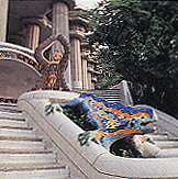 Antonio Gaudi Le Park Güell - vue stéréoscopique