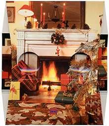 Une cheminée de Noël - Visionneuse stéréoscopique
