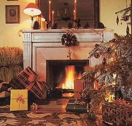 Une cheminée de Noël - vue stéréoscopique