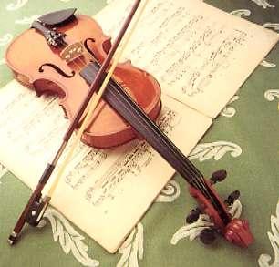 Un violon et une partition - vue stéréoscopique
