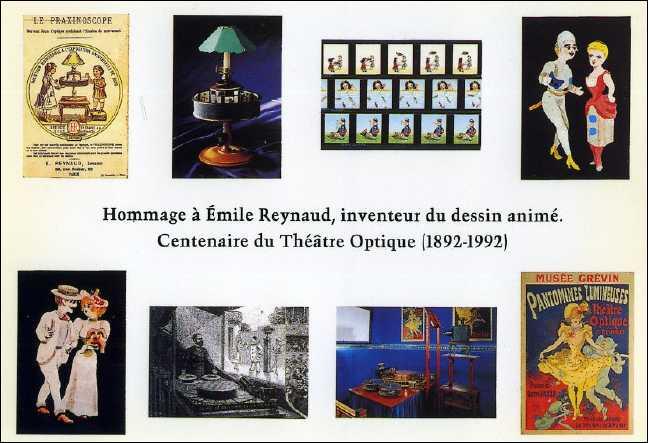 Hommage à Emile REYNAUD  Les 8 cartes postales en vignettes