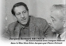 Jacques-B. Brunius et Jacques Prévert en 1961