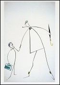 Gérard and Hulot  (Mon Oncle - 1958) Drawing Pierre Etaix